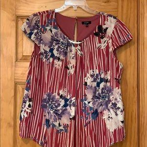 AUW Floral Print Cap Sleeve Blouse